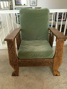 Antique Morris Mission Style Chair Made Of Oak Wood Manual Recliner