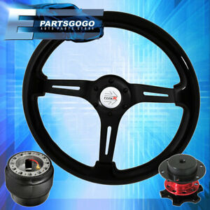 Quick Release Steering Wheel Black Center Black Wood Hub For 88 91 Civic