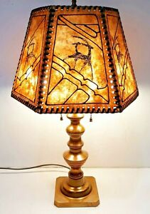 Arts Crafts Decorated 6 Panel Laced Mica Shade Solid Brass Beehive Lamp Base
