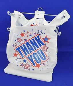 500 Qty Americana Thank You White Plastic T shirt Bags 11 5 X 6 X 21