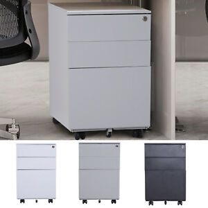24 Steel 3 Drawer Home Office Under Desk Filing Cabinet W Lock On Wheels