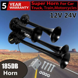 185db Quad 4 Trumpet Train Air Horn Car Truck Boat Compact Horn Speaker 12v 24v