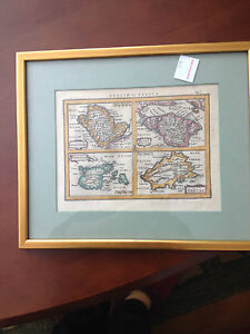 Antique Mapcirca1607 Mercator Angliae Tabula Signed Framed From B Altman
