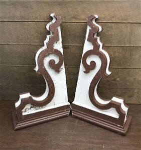 Pair Antique Victorian Wood Corbels Roof Brackets Architectural Salvage Shabby