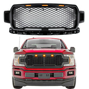 New Black Grill Grile Led Honeycomb Raptor Style For Ford F150 2018 2019 Tt