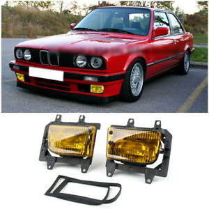 Front Bumper Yellow Fog Lights Plastic Lens Fit 85 93 Bmw E30 3 series Sedan Tt