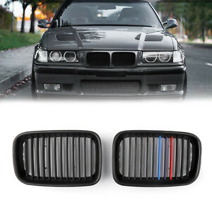 1pair Matte Black Front Hood Grille Kidney For Bmw E36 3 Series M3 1995 1996 Tt