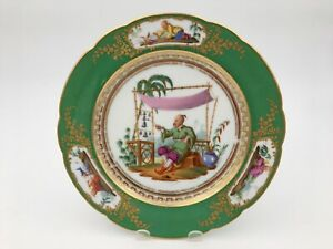 French Vieux Paris Feuillet Porcelain Plate With Chinese Style Figural Scenes