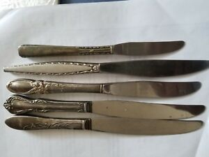 Vintage Knives Lots Of 5 Stainless Silver Plated Handle