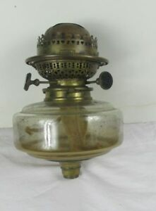 Very Rare Youngs Triplex Patent Bayonet Oil Lamp Brass Burner With Glass Font
