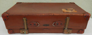 Antique Circa 1920 S Leather Suitcase Trunk By Hegaro Great Decorator Piece