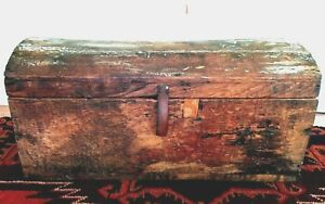Early 1800 S Small Dome Top Trunk Document Chest Patina Square Nails