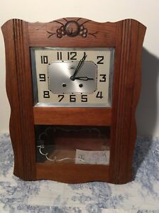 French Antique Morbier Wall Clock Pendulum Vintage 3060