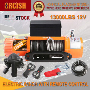 Orcish 13000lb Electric Winch Atv Utv Offroad Waterproof Boat Synthetic Cable