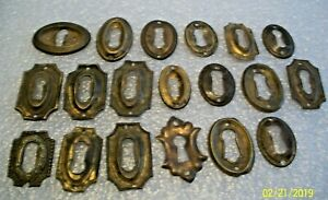 19 Fancy Pressed Brass Antique Key Hole Escutcheons Used Condition