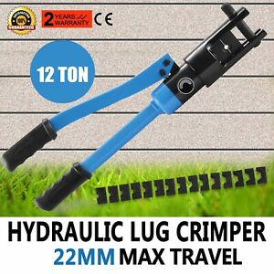 12 Ton Hydraulic Wire Terminal Crimper W 10 Dies Set Blue Cable Electrical