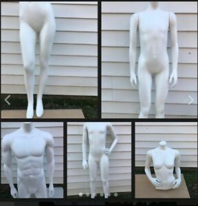 Female Males white Fiberglass Headless mannequins