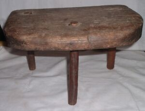 Milking Stool Authentic American Primitive Antique Hand Made Folk Art Pa Farm