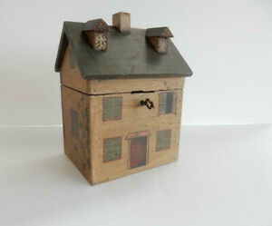 Georgian Wooden Dolls House Tea Caddy With Lock Key Hand Painted