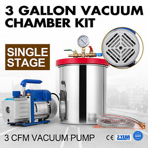 3cfm Vacuum Pump 3 Gallon Vacuum Chamber Stainless Steel Single Stage 220ml