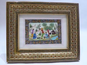 Persian Miniature Painting Hand Painted On Bone Hand Painted Marqueterie Frame