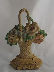 Antique Hubley 152 Cast Iron Miniature Painted Doorstop Flowers Roses In Basket