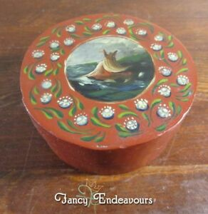 Shaker Style Box Small Hand Painted And Gingham Lined Ship On Stormy Sea