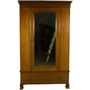 Antique Edwardian Single Door Wardrobe Mirror Drawer Clothes Closet Armoire