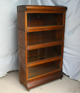 Antique Oak 4 High Sectional Barrister Bookcase Original Finish