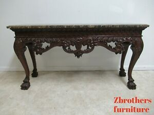 Custom Mahogany Paw Foot Marble Top Sideboard Console Table Chippendale