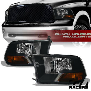 Dual Lamps For 2009 2019 Dodge Ram Factory Style Black Headlights Amber Pair Nb