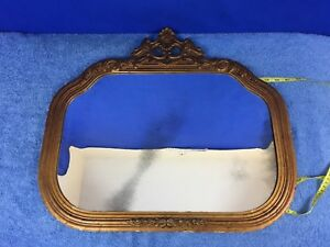 Antique Wall Mirror Wood Wooden Frame Carved 22 X 16
