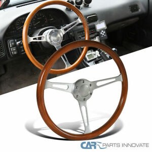 380mm 15inch Aluminum Spokes Vintage Classic Wooden Wood Grain Steering Wheel