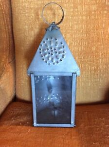 Vtg Farm Antique Punched Pierced Light Tin Old Barn Candle Lantern Primitive 2