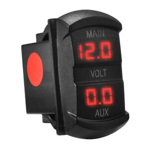 12 24 Volt Red Led Double Voltmeter Voltage Monitor For Marine Boat Car Ma1747