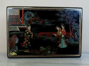 Antique Asian Japanese Japan Lacquer Trinket Box 4 5 X 3 25