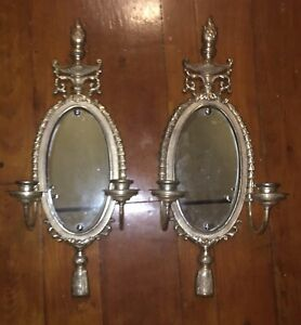 Huge Antique French Louis Xvi Mirrored Wall Sconces Colombia Lichte Silver