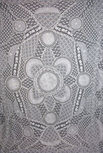 Antique Vintage French Net Normandy Lace Bedspread 1920s Patchwork Coverlet