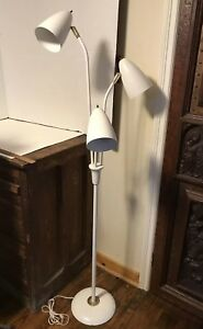 Vintage Mid Century Modern White Triple Light Floor Lamp Nice Retro