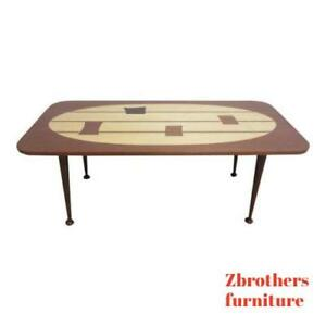 Custom Dark Mahogany Inlaid Mid Century Danish Space Age Coffee Serving Table A