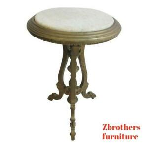 Antique Victorian Carved Gold Marble Top Lamp End Table Pedestal Clock Stand