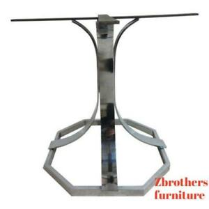 Vintage Mid Century Chrome Dining Room Center Table Base Octagon