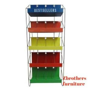 Vintage Chrome Multicolor Book Rack Shelf Display Industrial