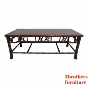 Vintage Quality Rosewood Chinese Chippendale Faux Bamboo Coffee Table