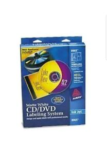 Avery 8965 Matte White Cd dvd Labeling System 40 Disc Labels 10 Case Inserts