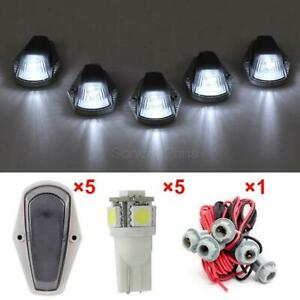 For Ford 168 White Led Cab Roof Running Marker Lights Smoke 5pcs Set t10 Harness