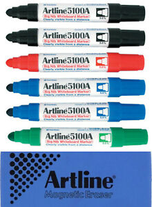 Artline 5109a Big Nib Whiteboard Marker 6 Pack Mixed 2xblack 2xblue Red Green