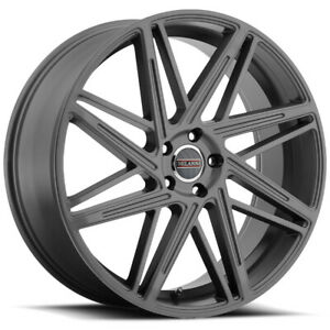 4 22 Inch Milanni 9062 Blitz 22x9 5x120 15mm Gunmetal Wheels Rims