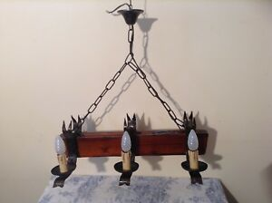 Vintage French Wood Wrought Iron Farmhouse Gothic Light Chandelier 2685