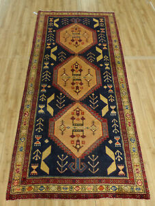 4 X10 Fine Rare Antique Persian Tribal Caucasian Oriental Geometric Rug Runner
